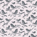 Leafy Meadow Col. 101 Birds Light Grey